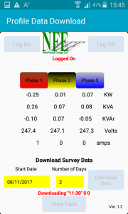 Profile Energy Monitor App - Downloading survey Data