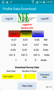 Profile Energy Monitor App - Logged On