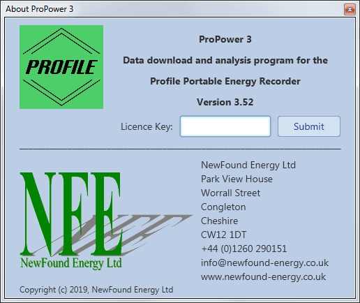 The About screen of the ProPower 3 software