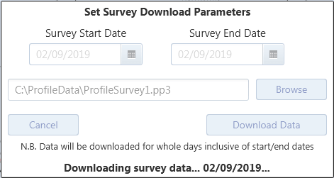 Screen shot of Profile survey data being downloaded