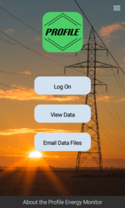 Energy monitor app main screen